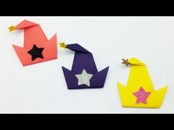 DIY Paper Hat | Origami Witch Hat Tutorial | Halloween Paper Decoration Ideas | Easy Paper Crafts