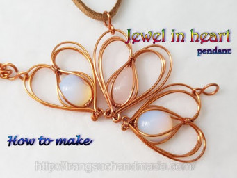 Jewel in heart - Simple way to wrap small stones with copper wire 541