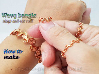 Wavy bangle bracelet, rings and ear cuff - How to make simple jewelry from copper wire 545