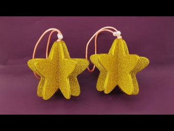 ⭐ Christmas 3D Decoration ⭐ Christmas Ornaments Star with Glitter Foam Paper