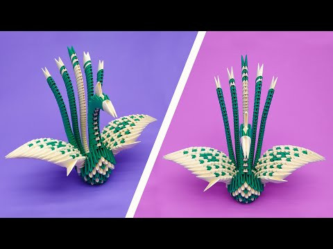 How to make a 3D origami Spotted Peacock