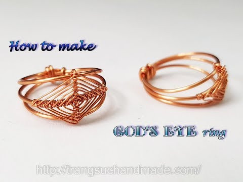 "Ring inspired ""God's eye craft"" - How to make handmade jewelry from copper wire 493"