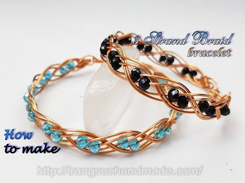 Double 3 wire braid bracelet with small crystal - How to make handmade jewelry 489