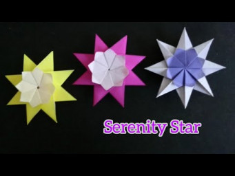 Origami Serenity Star/ Paper 8-Point Star with Flower 折纸八角星