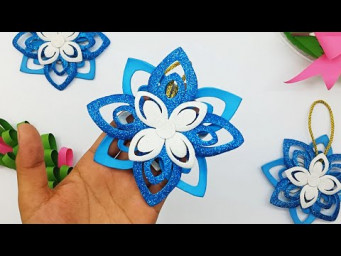 Glitter Foam Ornaments DIY Snowflakes Easy | Christmas Decoration Ideas