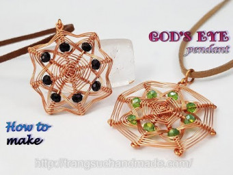 Square pendant inspired God's eye craft - Handmade jewelry from copper wire and abacus crystal 4